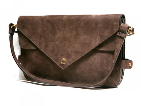 Сумка кож. конверт (SHOULDER BAG dark chocolate 80018) тем. шоколад Vionnet з12